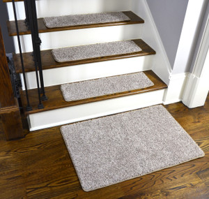 Dean Washable Non-Slip Carpet Stair Treads - Macadamia Beige - Set of 15 Pieces, 27 Inches by 9 Inches Each Plus a Matching 2 Foot by 3 Foot Landing Mat