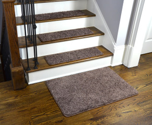 Dean Washable Non-Slip Carpet Stair Treads - Fresh Coffee Brown - Set of 15 Pieces, 27 Inches by 9 Inches Each Plus a Matching 2 Foot by 3 Foot Landing Mat