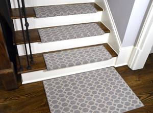 Dean Premium Pet Friendly Tape and Adhesive Free Non-Slip Bullnose Stainmaster Nylon Carpet Stair Treads - Silverado Gray (15) Plus a Matching 2' x 3' Landing Mat