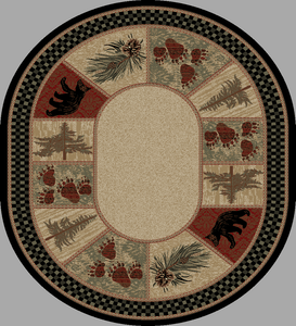 "Dean Cade's Cove Bear Lodge Cabin Bear Panel Area Rug Size: 5'3"" x 7'3"" Oval (5x8)"