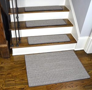 Dean Tape Free Pet Friendly Premium Nylon Non-Slip Stair Gripper Carpet Stair Treads - Natural Boucle Slate Gray (Set of 15) 27 Inches by 9 Inches Each Plus a Matching 2' x 3' Landing Mat