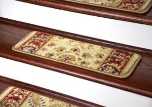 "Dean Premium Super Soft Nylon Carpet Stair Treads/Runner Rugs - Renaissance Antique - Set of 15 - 20"" x 8"""