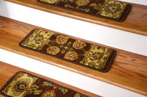 "Dean Premium Super Soft Nylon Carpet Stair Treads/Runner Rugs - Renaissance Brown - Set of 15 - 20"" x 8"""