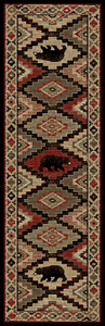 "Dean Boone Lodge Cabin Bear Western Ranch Runner Rug 2'3"" x 7'7"""