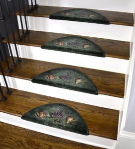 Dean Premium Pet Friendly Tape and Adhesive Free Non-Slip Bullnose Premium Nylon Carpet Stair Treads - Green Fruit (3)