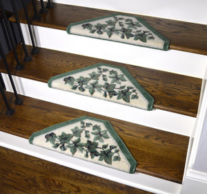 Dean Premium Pet Friendly Tape and Adhesive Free Non-Slip Bullnose Premium Nylon Carpet Stair Treads - Green Vine (3)