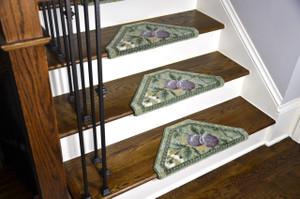 Dean Premium Pet Friendly Tape and Adhesive Free Non-Slip Bullnose Premium Nylon Carpet Stair Treads - Green and Purple Fruit (3)
