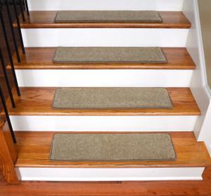 "Dean Ultra Premium Stair Gripper Non-Slip Tape Free Pet Friendly DIY Satin Soft Nylon Carpet Stair Treads/Rugs 30"" x 9"" (15) - Color: Saddle Tan"