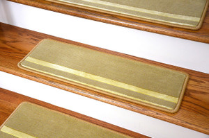 "Dean Premium New Zealand Wool Non-Slip Carpet Stair Treads/Runner Rugs - Deco Bloc Gold/Ivory 27"" x 9"" (Set of 15)"