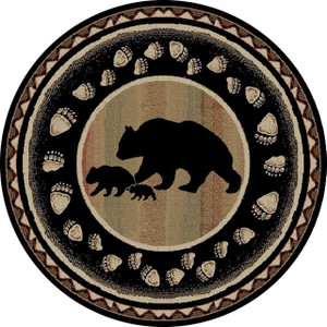 "Dean Black Bear Lodge Cabin Bear Carpet Area Rug Size: 5'3"" Round"