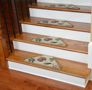 Washable Non-Skid Carpet Stair Treads - Beige Leaf (13)