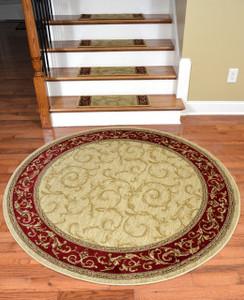"Dean Premium Carpet Stair Treads - Tan Scrollworks - Plus a matching 5' 3"" Round Rug"