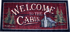 "Washable Non-Slip ""Welcome to the Cabin"" Kitchen Door Entrance Mat/Rug 20"" x 44"""