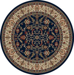 "Dean Classic Keshan Navy Blue Oriental Area Rug 7'10"" Round (8')"