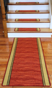 Washable Non-Skid Carpet Stair Treads - Boxer Terra Cotta (13) PLUS a Matching 5' Runner