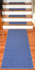 Washable Non-Skid Carpet Stair Treads - Michelle Blue (15) PLUS a Matching 5' Runner