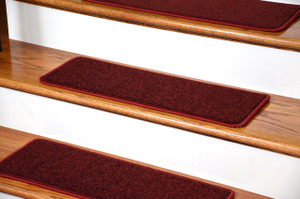 """Dean Serged DIY Carpet Stair Treads 27"""" x 9"""" - Ruby Red PLUSH with Double-Sided Tape Included"""