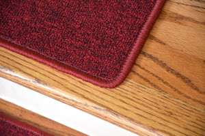 "Dean Serged DIY Carpet Stair Treads 27"" x 9"" - Cardinal Red - Set of 13"