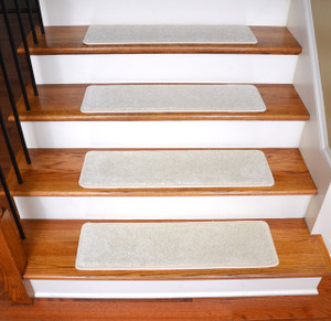 """Dean Ultra Premium Stair Gripper Non-Slip Tape Free Pet Friendly DIY Satin Soft Nylon Carpet Stair Treads/Rugs 30"""" x 9"""" (15) - Color: Feathered Beige"""