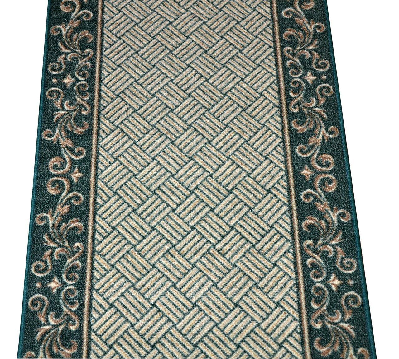 Dean Hunter Green Scroll Border Washable Non Skid Carpet