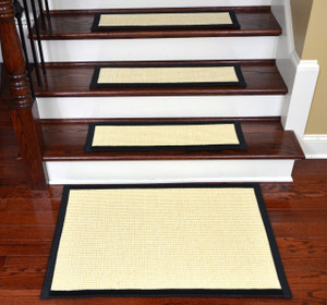 "Dean Non-Slip Tape Free Pet Friendly Stair Gripper Natural Fiber Sisal Carpet Stair Treads - Island Ivory/Black 29""W (15) Plus a Matching 2' x 3' Landing Mat"