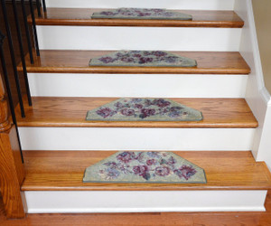 Washable Non-Skid Carpet Stair Treads - Green Flower (13)