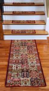 Premium Carpet Stair Treads - Panel Red Plus a Matching 5' Runner