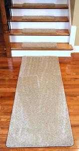 "Dean Premium Serged DIY Carpet Stair Treads 27"" x 9"" Barley 70 Oz PLUS a Matching 6' Runner"