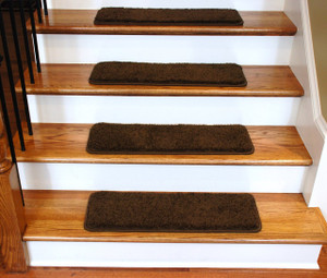 """Dean Premium Serged DIY Carpet Stair Treads 27"""" x 9"""" Timberline 70 Oz PLUSH (13) with Double-Sided Tape Included"""