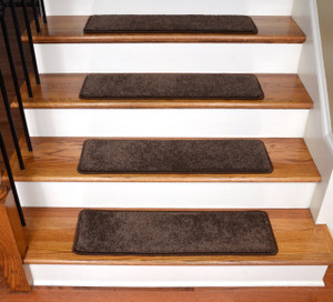 "Dean Ultra Premium Stair Gripper Non-Slip Tape Free Pet Friendly DIY Satin Soft Nylon Carpet Stair Treads/Rugs 30"" x 9"" (15) - Color: Chocolate Brown"