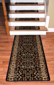 "Dean Premium Carpet Stair Treads - Classic Keshan Ebony 31""W (13) Plus a 5' Runner"