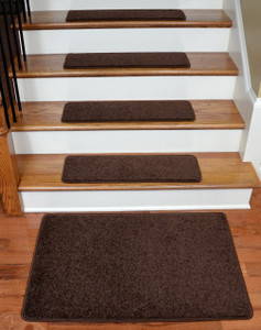 """Dean Serged DIY 27"""" x 9"""" Imperial Carpet Stair Treads (13) with Landing Mat - Color: Walnut"""