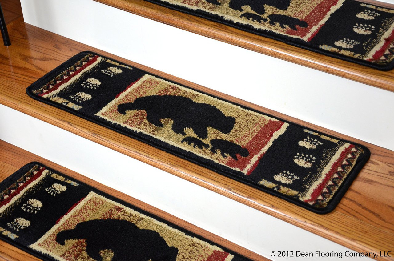 Dean Premium Carpet Stair Treads Black Bear Cabin 31 Quot X