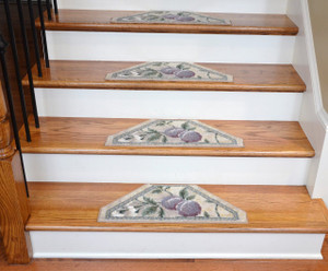 Washable Non-Skid Carpet Stair Treads - Ivory/Grey/Gold/Purple Fruit (13)