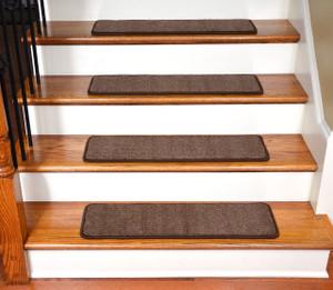 """Dean Premium Stair Gripper Tape Free Non-Slip Pet Friendly DIY Carpet Stair Treads 30""""x9"""" (15) - Luxor Brown"""