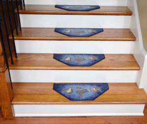 Washable Non-Skid Carpet Stair Treads - Navy Fruit (13)