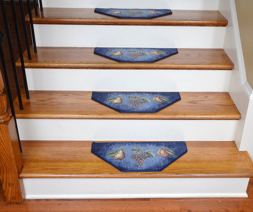 Washable Non Skid Carpet Stair Treads Navy Fruit 13