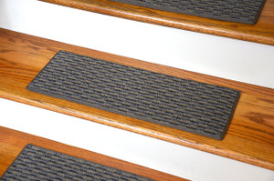 "Dean Indoor/Outdoor Pet Friendly Tape Free Non-Slip Carpet Stair Step Treads - Tybee Island Gray 23"" x 8"" (15)"