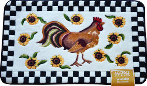 "Washable Non-Skid Accent Decor Rooster Kitchen/Bath/Door Mat 18"" x 30"" White"