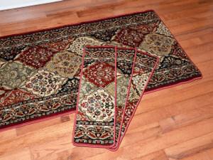 """Dean Premium Carpet Stair Treads - Panel Kerman Claret 31""""W Set of 13 Plus a Matching 5' Runner"""