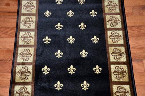 Black Fleur De Lys Carpet Runner Rug 31 Quot Wide