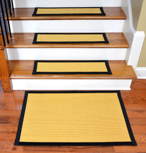 "Dean Non-Slip Tape Free Pet Friendly Stair Gripper Natural Fiber Sisal Carpet Stair Treads - Island Gold/Black 29""W (15) Plus a Matching 2' x 3' Landing Mat"