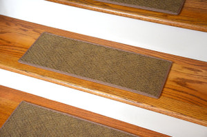 "Dean Indoor/Outdoor Pet Friendly Tape Free Non-Slip Carpet Stair Step Treads - Contour Beige 23"" x 8"" (15)"