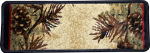 "Dean Premium Carpet Stair Treads - Mt. Le Conte Pine Cone Lodge Cabin Runner Rugs 31"" x 9"" (Set of 15)"