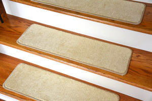 "Dean Ultra Premium Stair Gripper Non-Slip Tape Free Pet Friendly DIY Satin Soft Nylon Carpet Stair Treads/Rugs 30"" x 9"" (15) - Color: Lustre Beige"