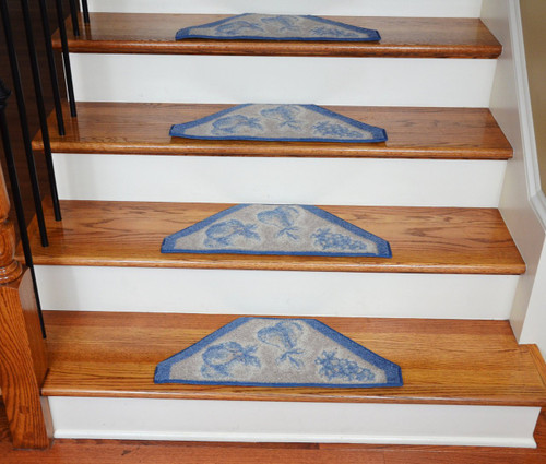 Washable Non Skid Carpet Stair Treads Blue Grey Fruit
