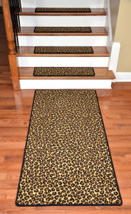 "Premium Carpet Stair Treads - Leopard 30"" x 9"" Plus a Matching 5' Runner"