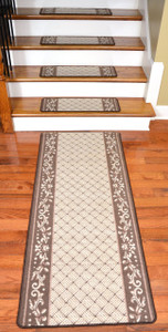 Dean Washable Non-Skid Stair Treads - 13 Caramel Scroll Border with Matching 5' Runner