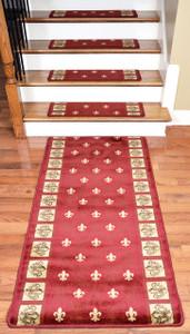 """Dean Premium Carpet Stair Treads - Red Fleur-De-Lys 31"""" x 9"""" (Set of 13) Plus a 5' Runner"""