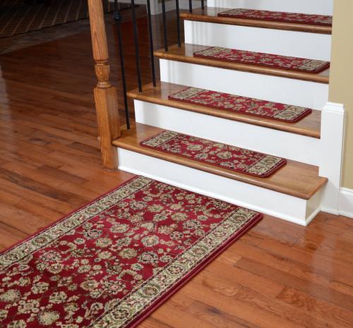 Dean Premium Carpet Stair Treads Elegant Keshan Claret